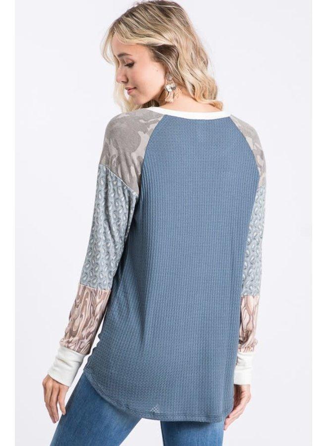 Color block raglan sleeve top