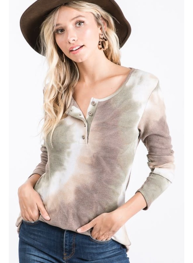 Tie Dye button front long sleeve top