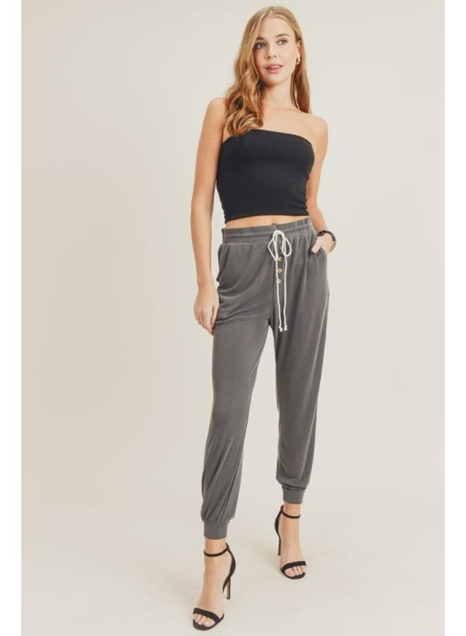 Comfortable Knit Jogger with Slant Pocket & Faux button Front