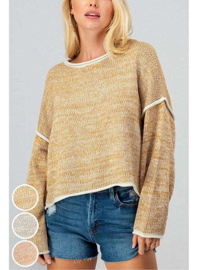 Two Tone Knit Drop Shoulder Reverse Seam Mustard/Ivory