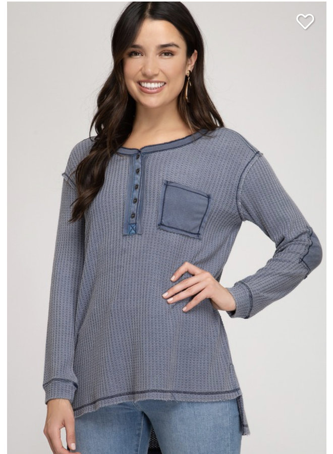 Navy French Terry long sleeve top with pop up details