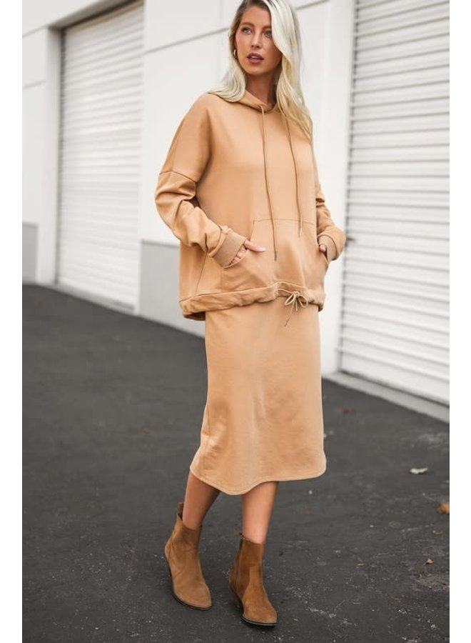 French Terry Draw String Mid Skirt