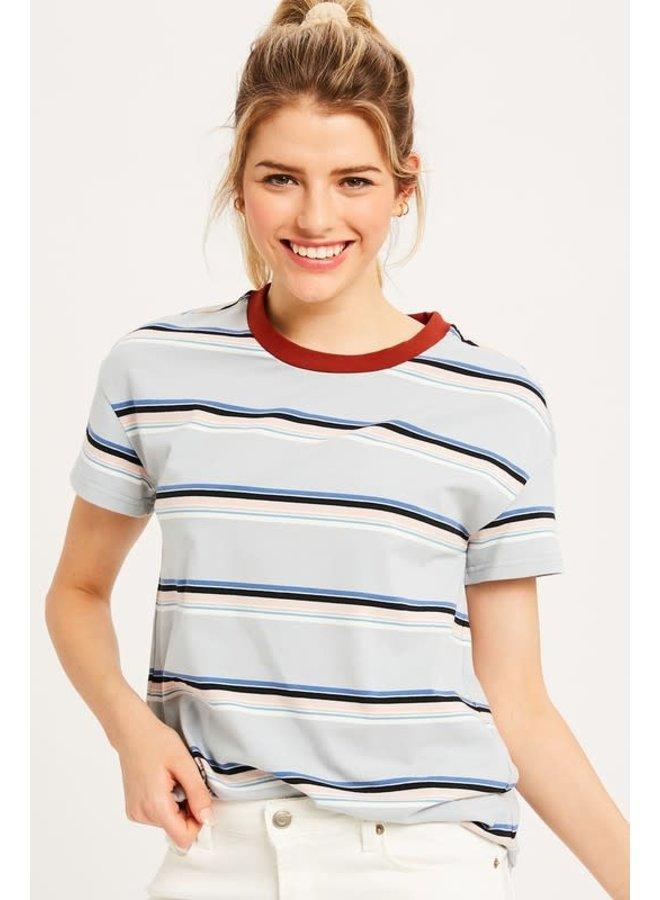 Multi Stripe short Sleeve Tops