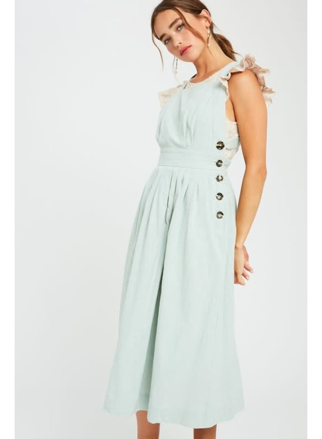 Halter Square Neck Apron Midi Dress Sage