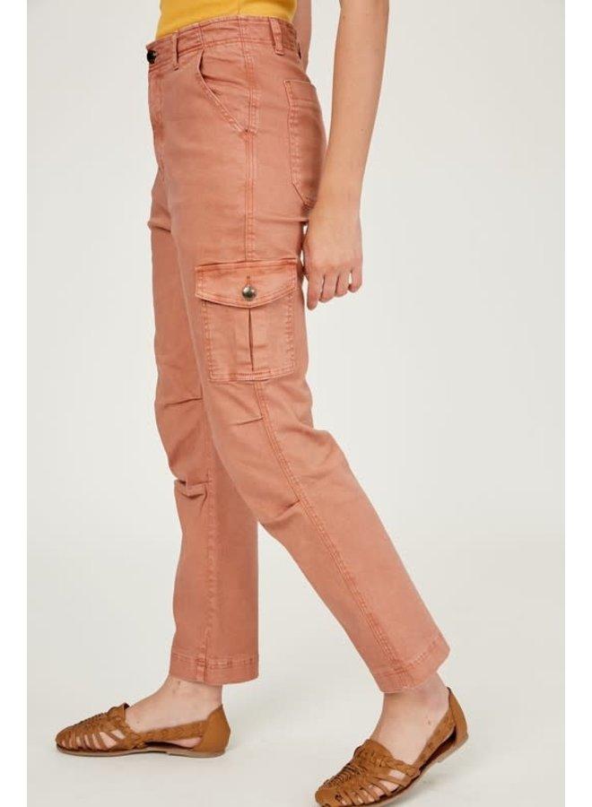 Garment Dye Washed Stretch Denim Cargo Pants