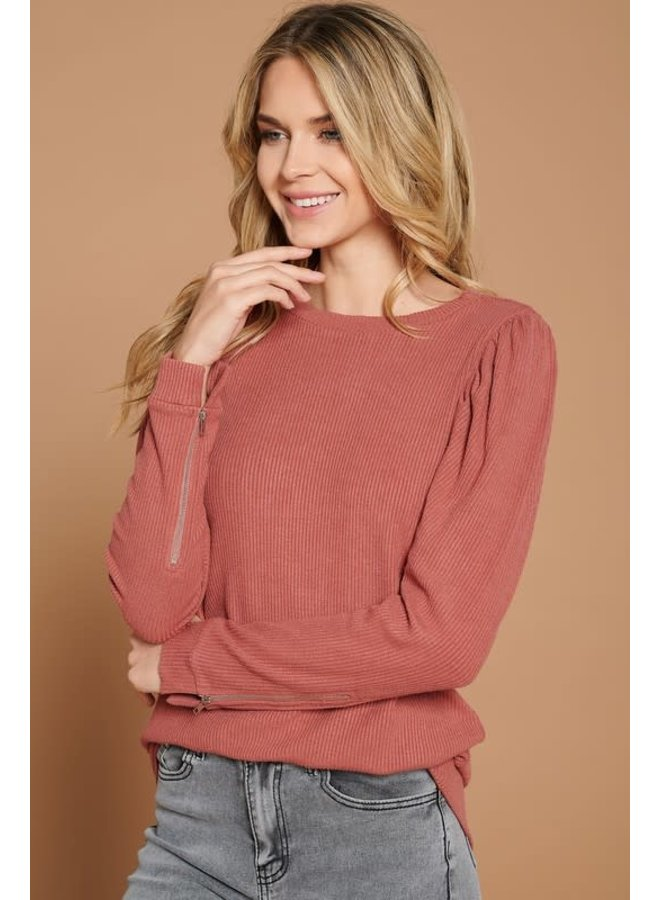 Rusty Rose Puff Sleeve Ribbed knit top with sleeve zipper