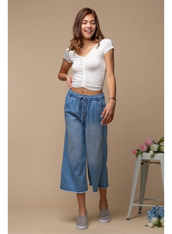 Denim Blue wide crops with drawstring