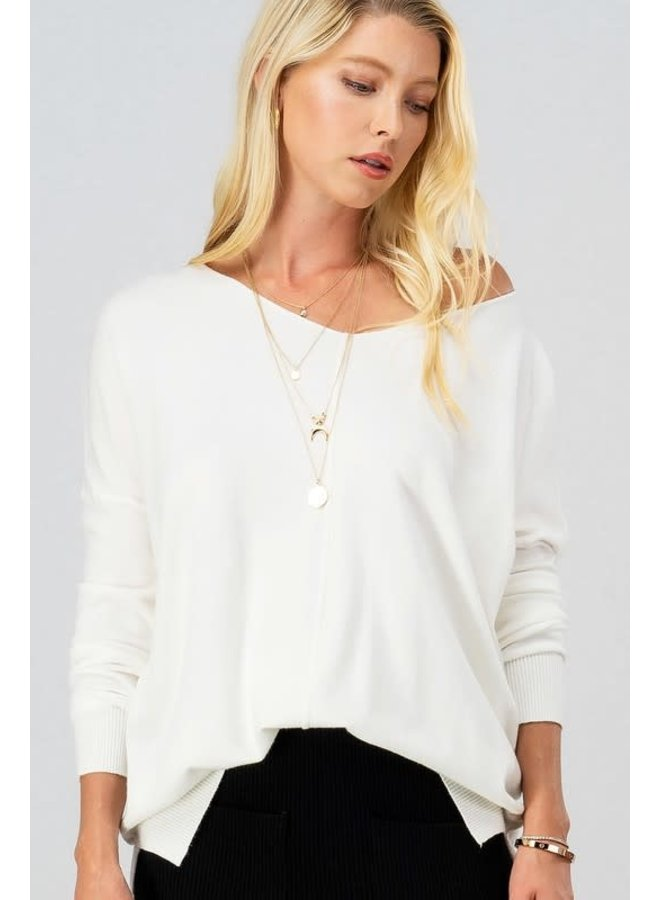 Soft high-low tunic sweater in ivory