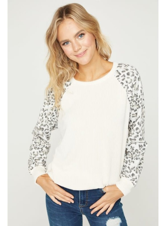 Long sleeve rib knit top with animal sleeves