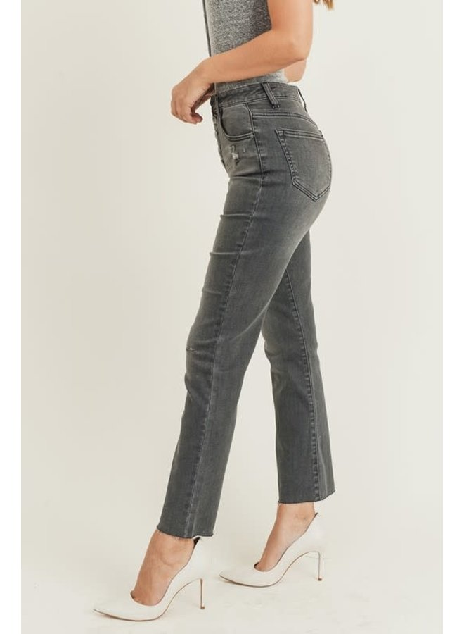 High rise button fly straight leg jean grey