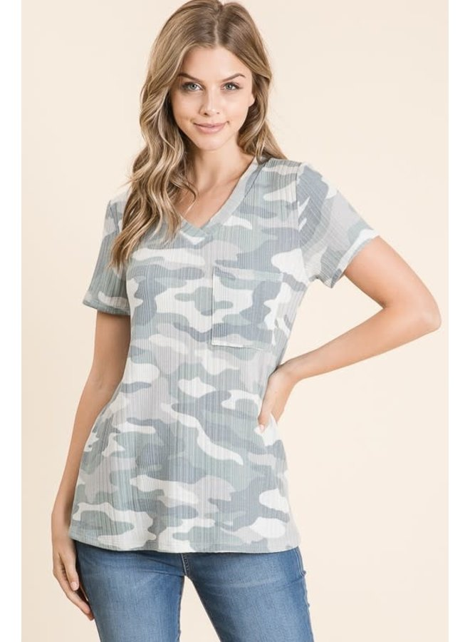 Camo V-Neck ribbed tee