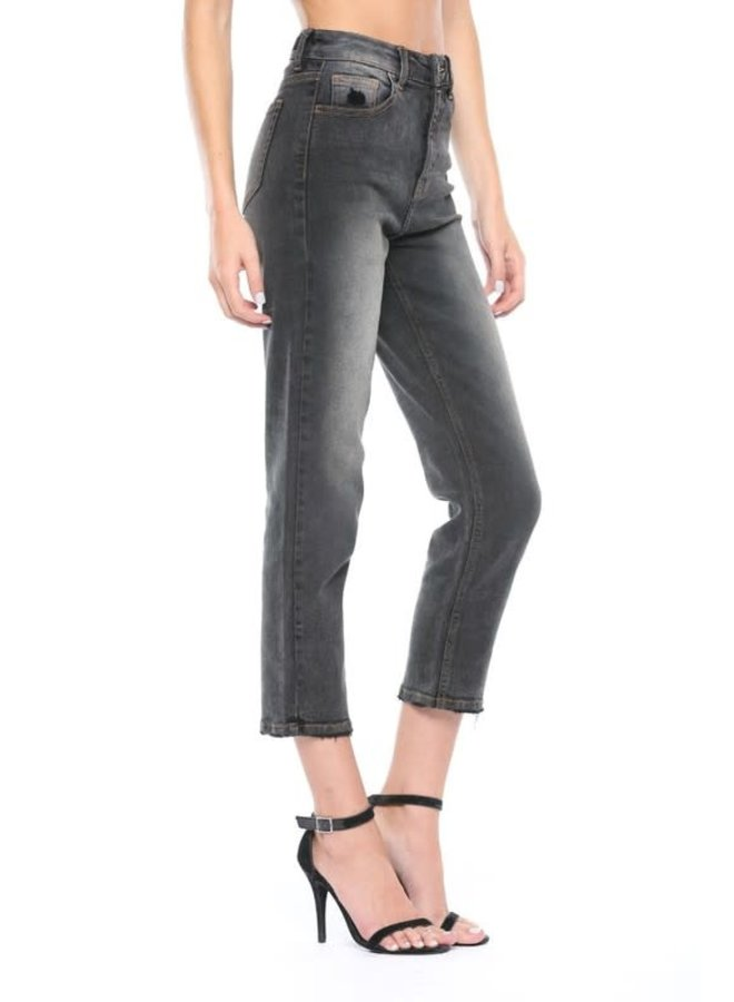 Black High Rise Grey wash Straight Jeans