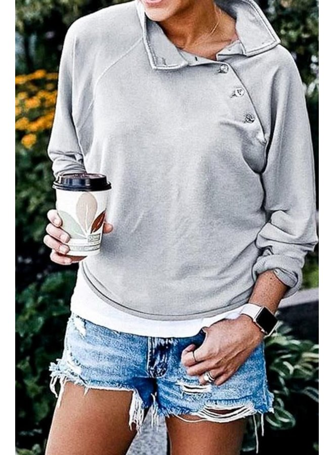 Grey shoulder button down high neck loose fit casual top