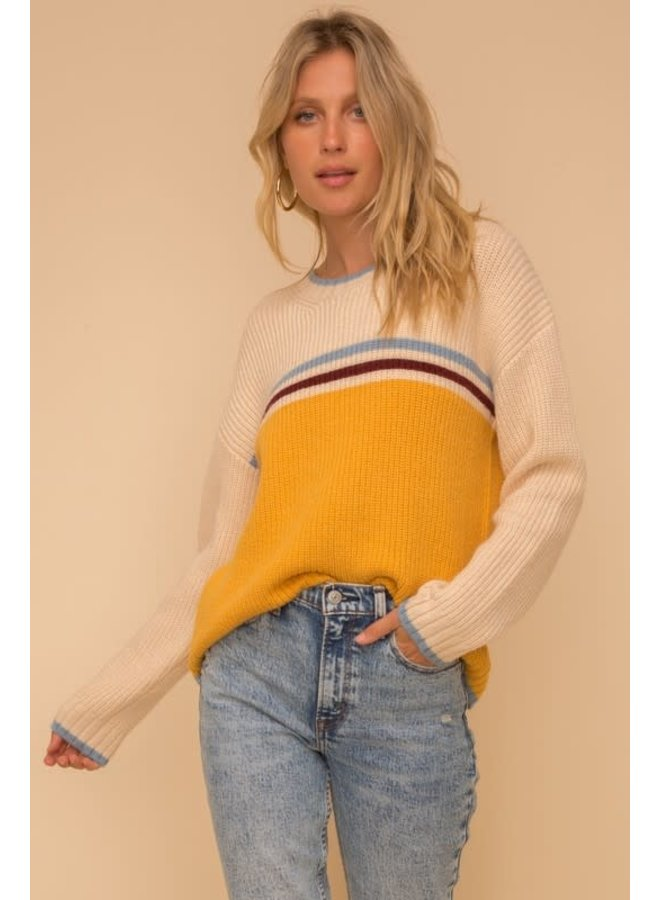 Mustard and cream sweater with blue stripes