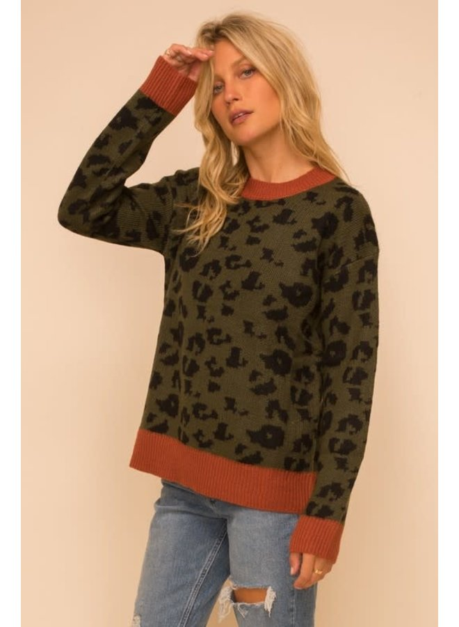Olive sweater with black leopard and rust trim