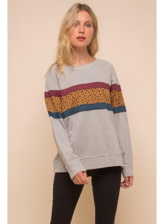 Grey  sweatshirt  with burgundy,mustard and leopard stripe