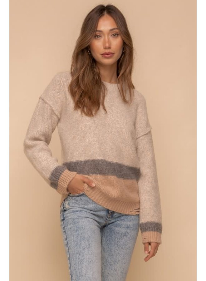 Taupe,, blue, latte Block sweater with bottom & Cuff Destroyed