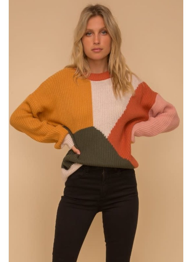 Rust, Mustard, Ivory color block crew neck sweater