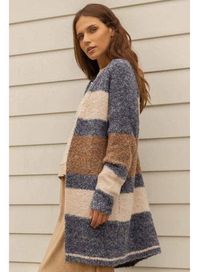 Blue, Cream, Rust Bounce Yarn Stripe Cardigan