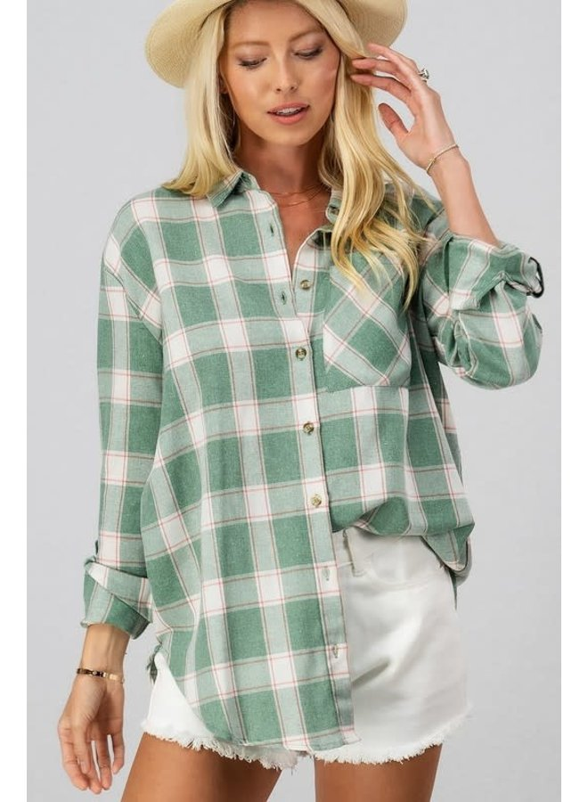 Plaid button down shirt with pocket