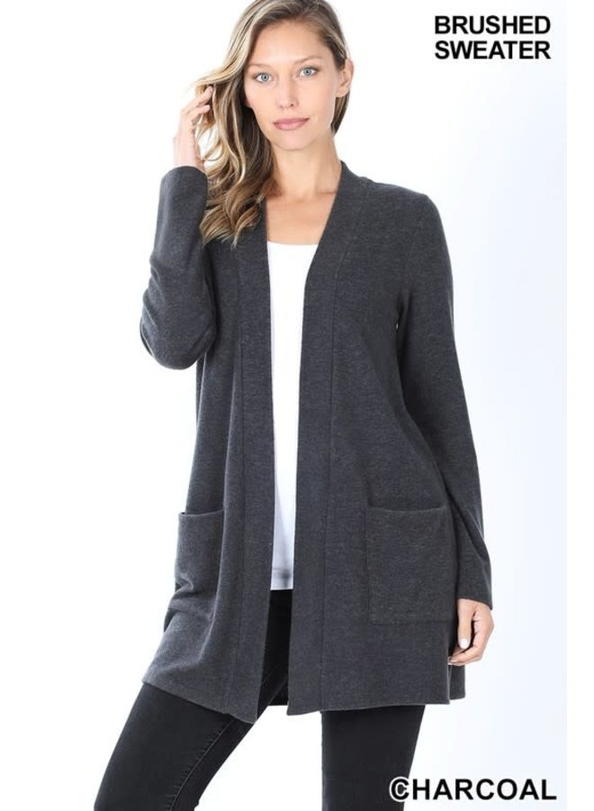 Basic open front cardigan