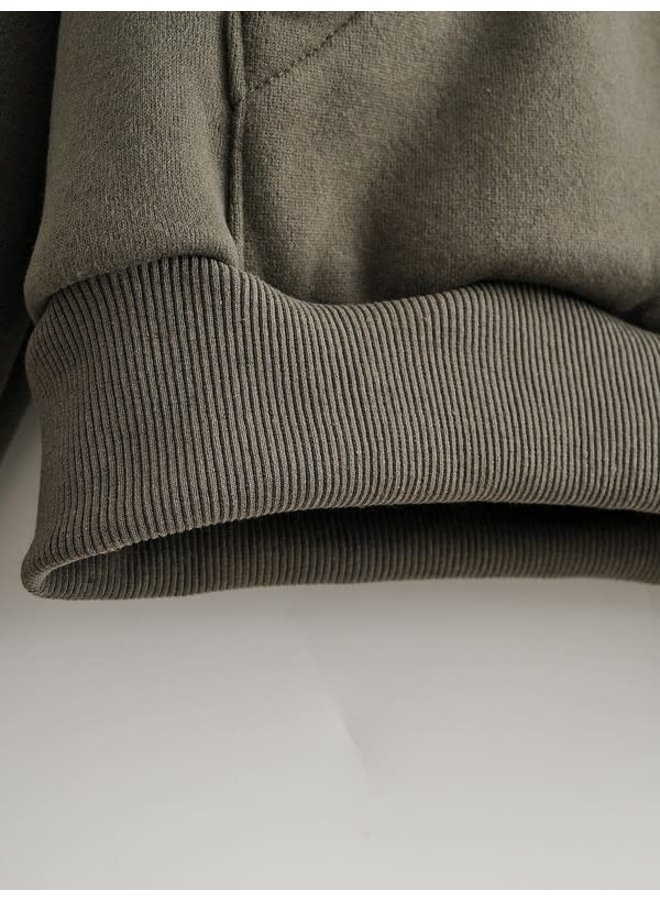 Drawstring hooded sweatshirt in olive