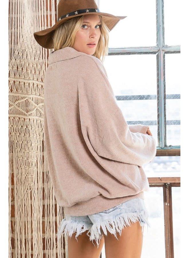 Soft brushed shawl collar pullover blush long sleeve