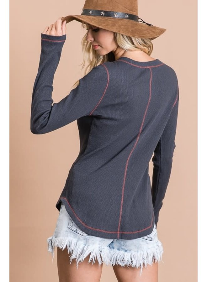 Textured rib with snap button stitch detail long sleeve top