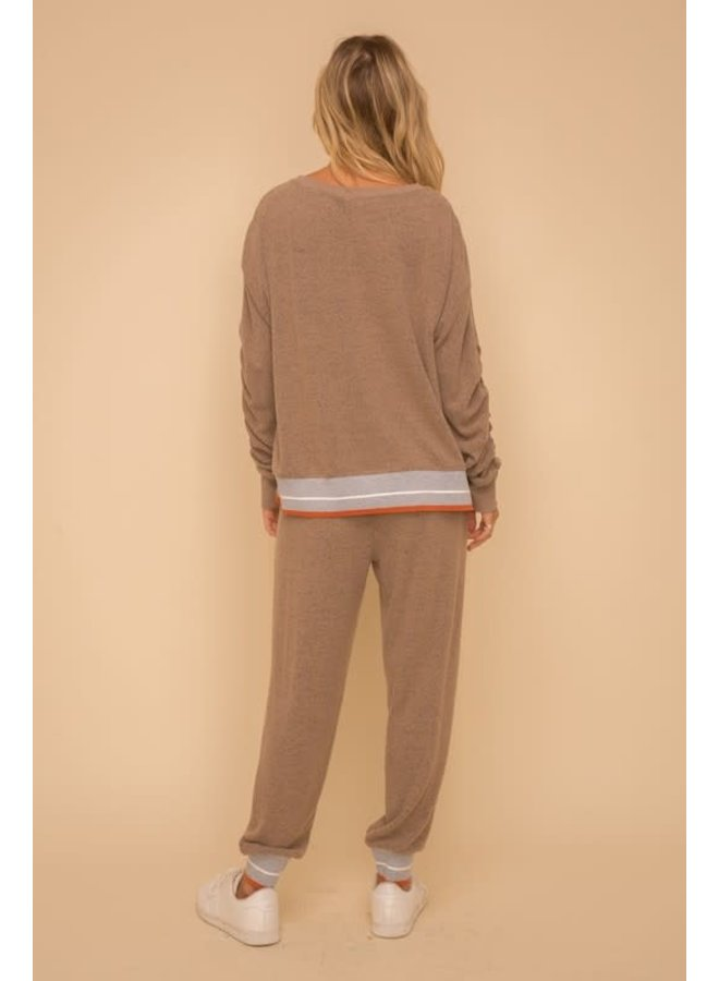 Cinched sleeve stripe elastic  contrast brown pullover
