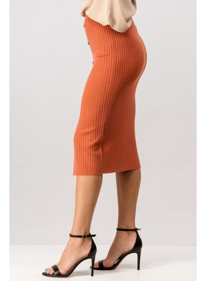 Ribbed button midi slit skirt