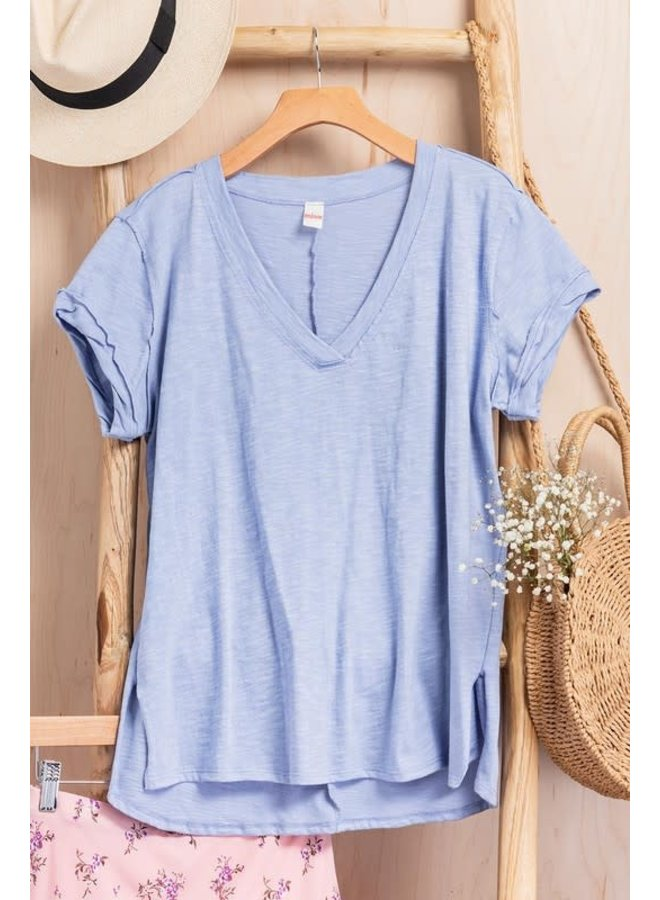 Vintage wash deep v-neck tee
