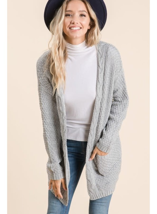 Soft waffle knit sweater cardigan with cable knitting