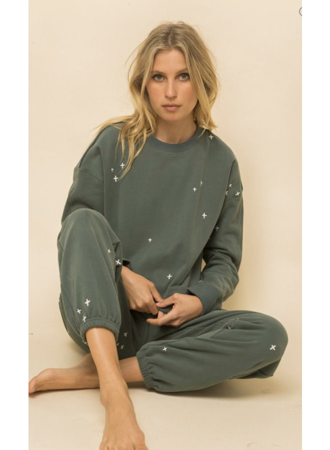 Soft Sweatshirt Embroidery  side slip