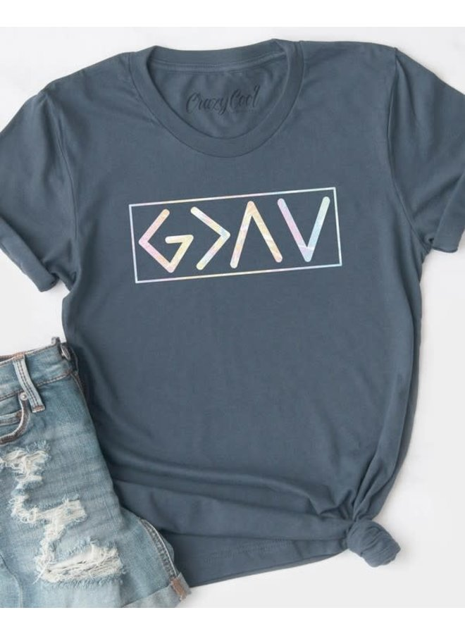 God is greater than ups and downs tee in navy