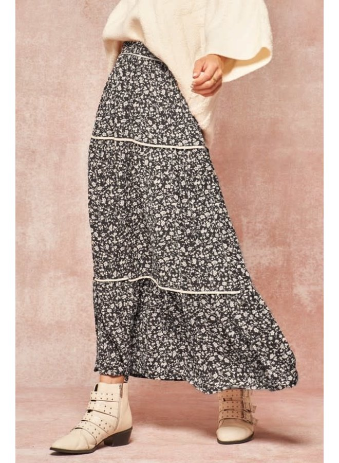 Black and Ivory floral skirt