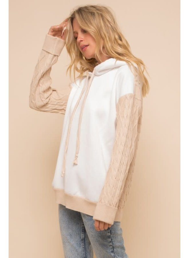 Ivory/Tan fleece Hoodie Cable knit sleeve long sweater
