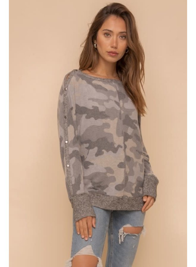 Brushed Camo open boat neck top