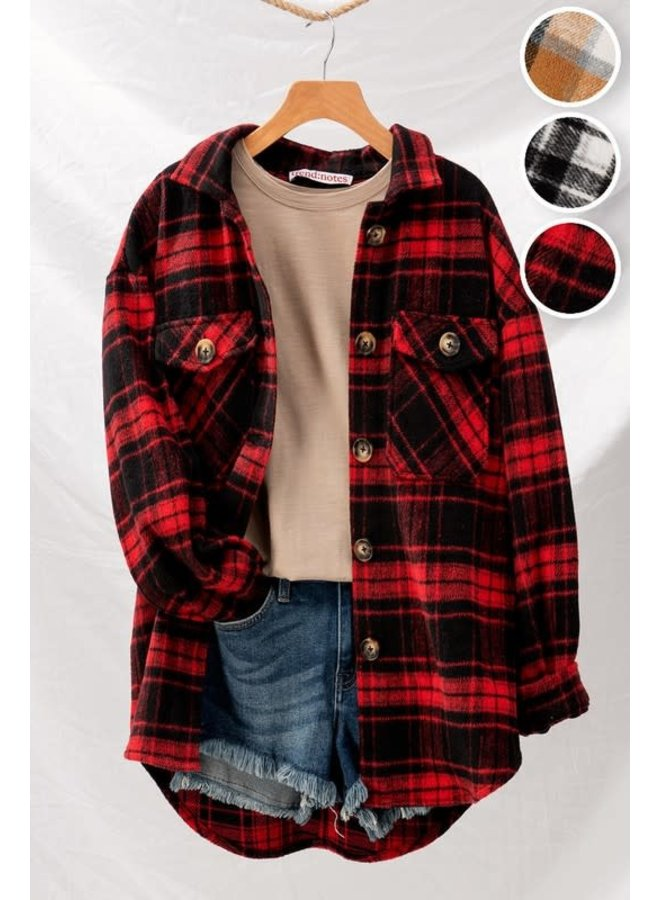 oversized  button down flannel  jacket
