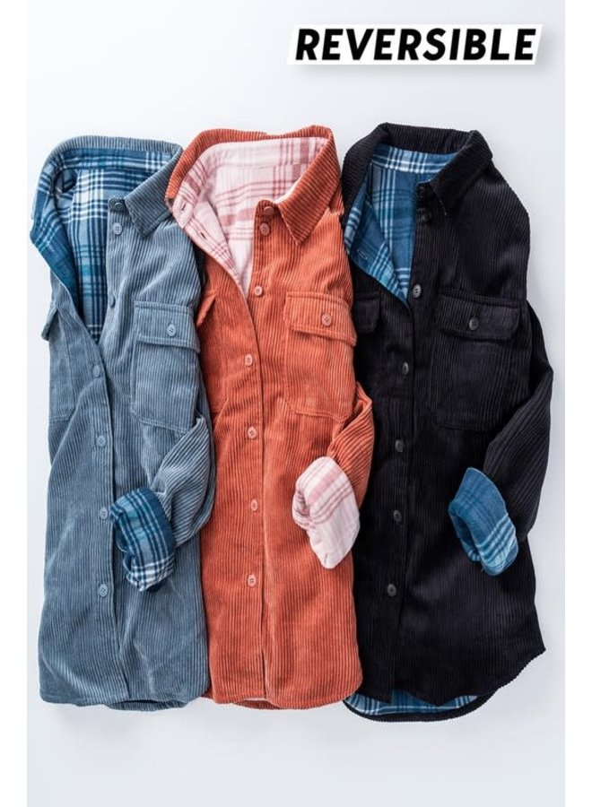 Corduroy checkered reversible button down jacket