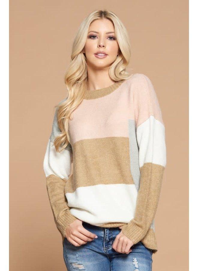 Color Blocks sweater blush/grey