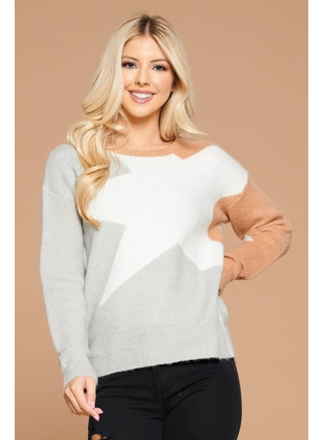 Star contrast knit sweater silver/ivory