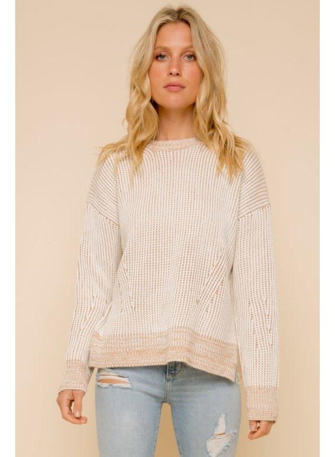 Chunky rib round neck sweater