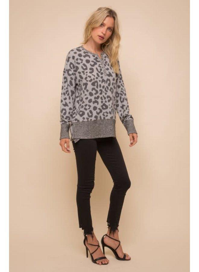 Leopard print soft spun Henley