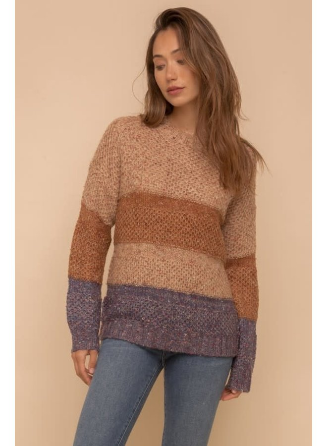 Multi color yarn color block sweater