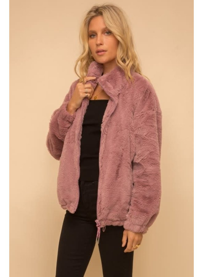 Contrast lined faux fur mauve jacket