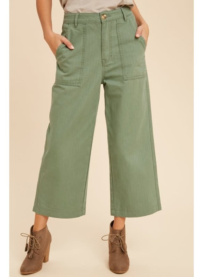 Wide Leg Olive Denim Pant