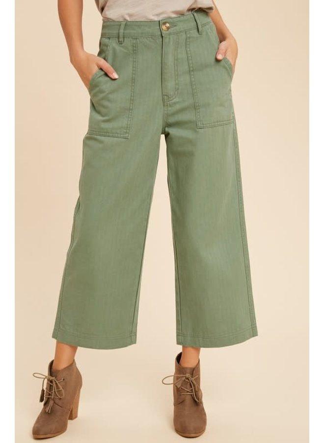 Wide Leg Olive Denim Pant