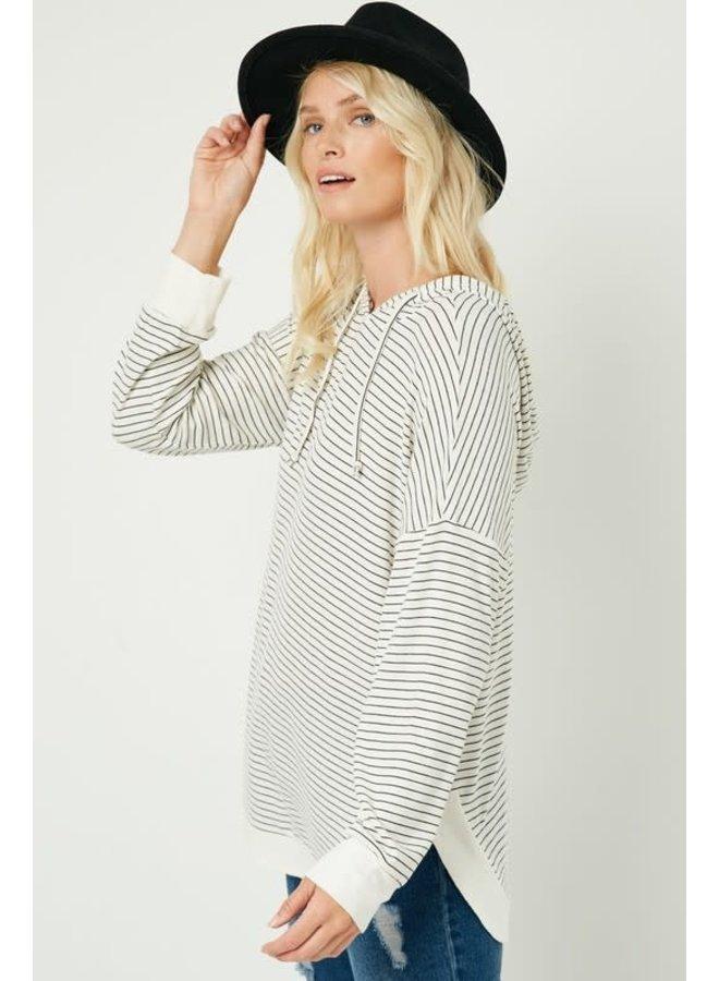 White Hooded Top w/Black Stripe