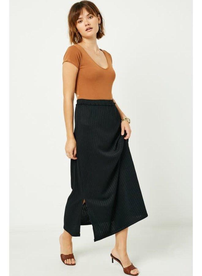 Black Ribbed Maxi Skirt