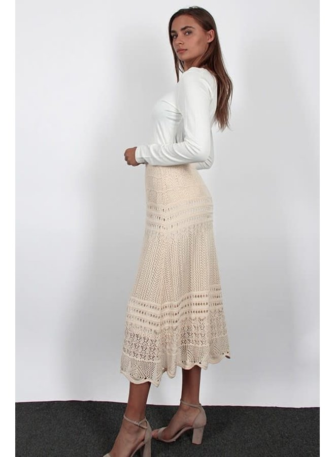Cream Fit & flare crochet midi skirt